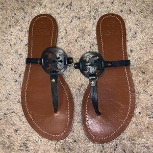 Navy Tory Burch mini Miller Sandals